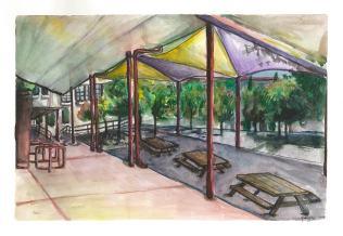 Quad Makeover Cafeteria Overhang